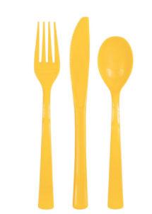 couverts plastiques jaunes, fourchettes, couteaux, cuillères, vaisselle jetable, Vaisselle Jaune, Couverts x 18