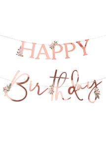guirlande anniversaire, guirlande happy birthday, ginger ray, Guirlande Anniversaire, Happy Birthday, Floral et Rose Gold