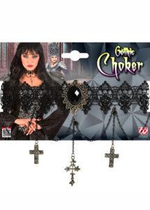 collier gothique, collier halloween, bijoux halloween, collier tour de cou, Collier Gothique, Tour de Cou Halloween, avec Croix