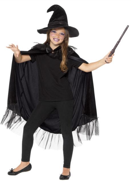 cape de sorcière, chapeau sorcière enfant, halloween enfant, Cape de Sorcière avec Chapeau, Fille