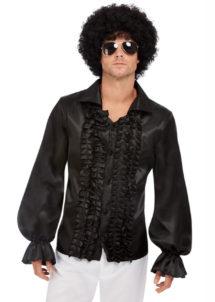 chemise disco, chemises à jabot, chemise froufrous, Chemise Disco Noire à Froufrous