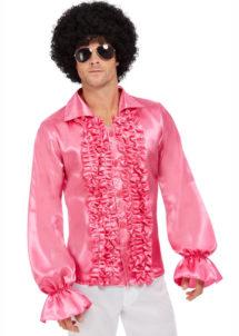 chemise disco, chemises à jabot, chemise froufrous, Chemise Disco Rose à Froufrous