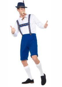 déguisement bavarois homme, costume bavarois homme, déguisement tyrolien homme, costume tyrolien homme, salopette bavaroise déguisement, déguisement homme, déguisement fête de la bière, déguisement oktoberferst, Déguisement Bavarois Oktoberfest, Salopette Bleue et Chemise