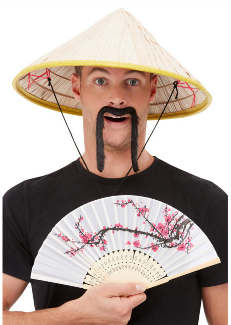 kit chapeau chinois, éventail chinois, moustache chinoise, chapeau chinois, Chapeau Chinois, Moustache et Eventail