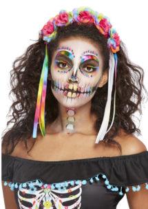 kit jour des morts, Day of death, maquillage jour des morts, bandeau jour des morts, Kit de Maquillage Jour des Morts, avec Couronne de Fleurs