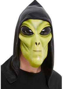 masque alien, masque halloween, Masque Alien Vert, en Latex