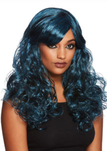 perruque bleue, perruque halloween, perruque qualité, Perruque de Séductrice Gothique, Bleue et Noire