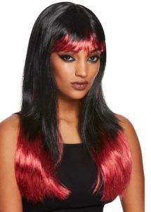 perruque noire et rouge, perruque faux sang, perruque halloween, Perruque Bain de Sang, Noire et Rouge