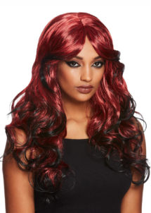 perruque rouge, perruque rousse, perruque bleue, perruque halloween, perruque qualité, Perruque de Séductrice Gothique, Rouge et Noire