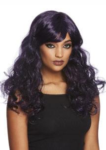 perruque violette, perruque halloween, perruque qualité, Perruque de Séductrice Gothique, Violette et Noire