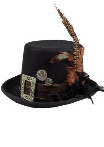 chapeau steampunk, accessoire steampunk, chapeau haut de forme, lunettes steampunk, Chapeau Steampunk Luxe, avec Plumes et Boucle