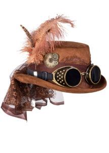 chapeau steampunk, accessoire steampunk, chapeau haut de forme, lunettes steampunk, Chapeau Steampunk Luxe, avec Plumes, Ruban, Lunettes