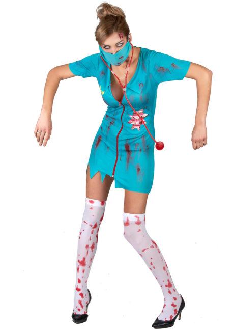 déguisement halloween femme, déguisement faux sang, déguisement infirmière, costume halloween zombie, Déguisement d'Infirmière Zombie