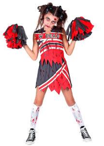 déguisement cheerleader zombie fille, déguisement pompom girl zombie fille, déguisement halloween fille, Déguisement de Cheerleader Zombie, avec Pompons, Fille
