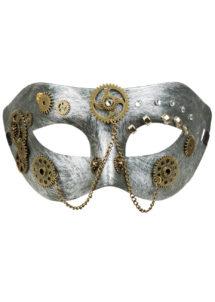 loup steampunk, masque steampunk, Loup Steampunk, Argent et Or Vieilli
