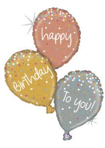 ballon hélium, ballon anniversaire, ballon anniversaire, ballons happy birthday, ballon géant, Ballon Anniversaire 3 Or, en Aluminium