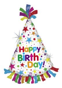 ballon anniversaire, ballon chapeau anniversaire, ballon hélium, ballons pour anniversaire, Ballon Anniversaire, Chapeau Pointu, en Aluminium