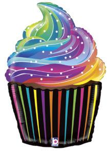 BALLON-ANNIVERSAIRE-CUPCAKE-35856, Ballon Cupcake Multicolore, en Aluminium