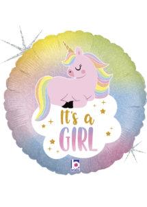 ballon hélium, ballon babyshower,ballon baby shower, ballon licorne, Ballon Baby Shower, It's a Girl Licorne, en Aluminium