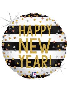 ballon bonne année, ballon hélium, ballons réveillon, ballon happy new year, ballon à l'hélium, Ballon Happy New Year Confettis, en Aluminium