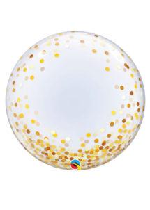 ballon bubble transparent confettis, ballons confettis, ballons hélium, Ballon Bubble, Confettis Dorés