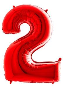 ballon chiffre 2, ballons chiffres, ballons anniversaire, ballons hélium, Ballon Chiffre 2, Rouge, 66 cm
