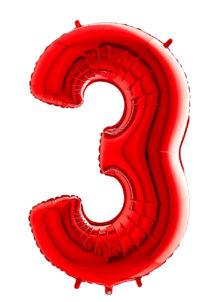 ballon chiffre 3, ballons chiffres, ballons anniversaire, ballons hélium, Ballon Chiffre 3, Rouge, 66 cm
