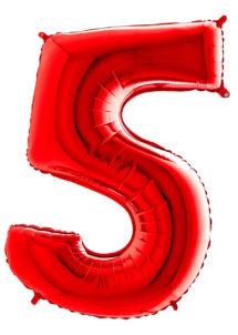 ballon chiffre 5, ballons chiffres, ballons anniversaire, ballons hélium, Ballon Chiffre 5, Rouge, 66 cm
