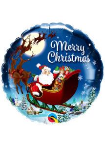 ballon hélium noel, ballon père noel, ballon à l'hélium, ballon de père noël, Ballon Noël, Traineau du Père Noël, en Aluminium
