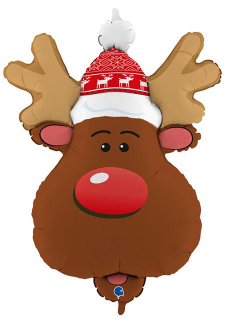 ballon noel, ballon renne de noel, ballon aluminium, ballons de noel, Ballon Noël, Renne du Père Noël, en Aluminium