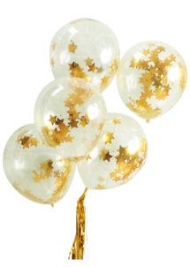 ballons confettis, ballons confettis étoiles, ballons fête, ballons transparents, ginger ray, Ballons Confettis Etoiles d'Or, x 5