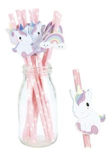 pailles en carton, pailles licornes, pailles roses, pailles goûter anniversaire, Pailles Jetables Roses, Baby Licorne