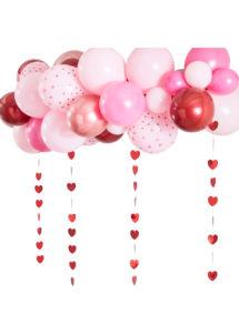 arche de ballons coeurs, arche de ballons saint valentins, arche de ballons rouges et roses, Arche de Ballons, Rose, Rouge et Rose Gold