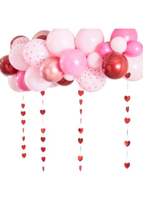 arche de ballons coeurs, arche de ballons saint valentins, arche de ballons rouges et roses, Arche Guirlande de Ballons, Rose, Rouge et Rose Gold