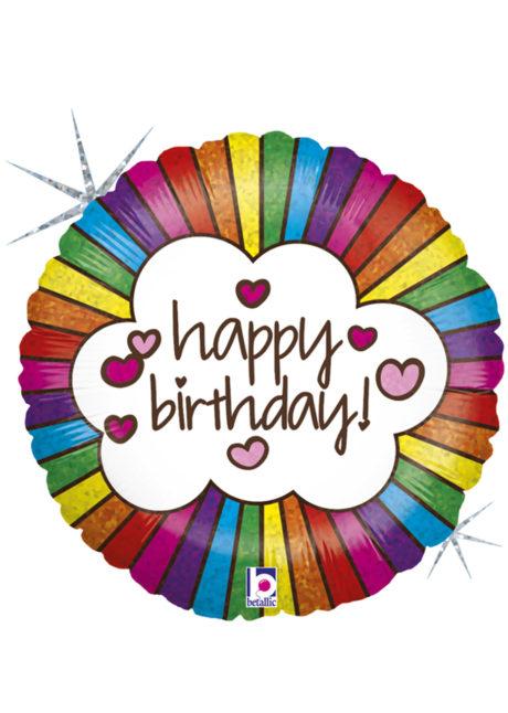 ballon anniversaire, ballon hélium, Ballon Anniversaire, Arc en Ciel Rétro, en Aluminium