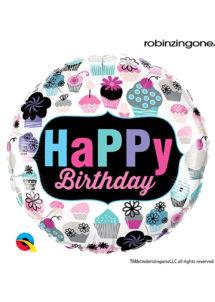 ballon anniversaire, ballon hélium, Ballon Anniversaire, Cupcakes Flowers, en Aluminium