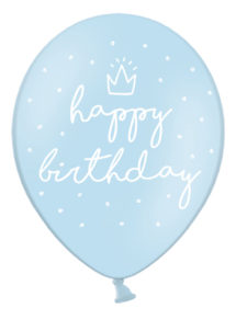 ballon anniversaire, ballon baudruche, ballon hélium, ballons joyeux anniversaires, décorations anniversaire, Ballons Happy Birthday, Bleus, en Latex, x 6