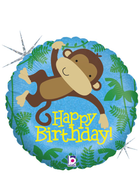 Ballon hélium, ballon anniversaire, ballon anniversaire enfant, Ballon Anniversaire, Monkey Buddy, en Aluminium