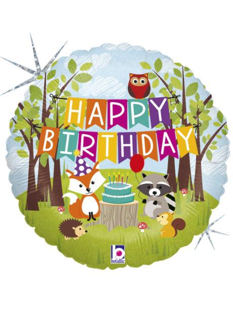 ballon anniversaire, ballons hélium, ballons enfants, Ballon Anniversaire, Animaux des Bois, en Aluminium