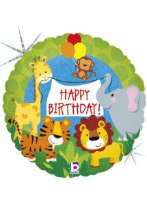 ballon anniversaire, ballons hélium, ballons enfants, anniversaires enfants, Ballon Anniversaire, Animaux de la Jungle, en Aluminium