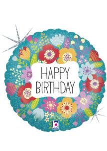 ballon anniversaire, ballon fleurs, ballon hélium, ballon pour anniversaire, Ballon Anniversaire, Fleurs Sauvages, en Aluminium