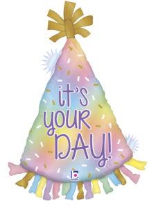 ballon anniversaire, ballon chapeau pointu, ballon pour anniversairer, Ballon Anniversaire, Chapeau Pointu Opale, en Aluminium