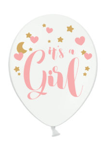 babyshower, baby shower, ballons naissance, ballon fille, ballon naissance fille, baby shower fille, Ballons Baby Shower, Fille, en Latex, x 6