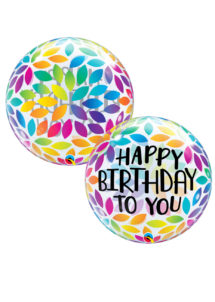 ballon anniversaire, ballon hélium, ballon bubbles anniversaire, Ballon Anniversaire, Bubble Transparent, Pétales