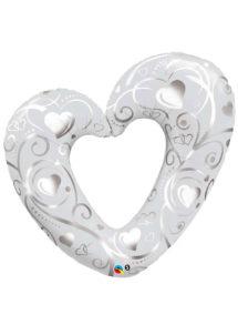 ballon coeur, ballon coeur géant, ballon saint valentin, ballon mariage, Ballon Coeur Argent Ouvert, en Aluminium