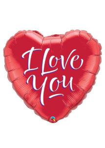 ballon coeur, ballon hélium, ballon saint Valentin, ballon mylar, ballon à l'hélium, ballons coeurs, ballon coeur rouge, ballon i love you, Ballon Coeur, I Love You, en Aluminium