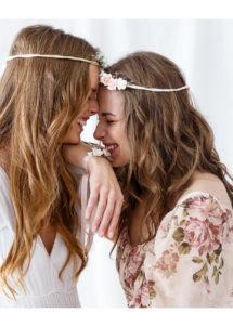 accessoires bride to be, accessoires EVJF, Bracelet Ruban Satin et Fleurs Roses, EVJF