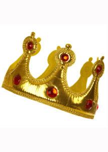 COURONNE-DE-ROI-SOUPLE-308223, Couronne de Roi, Tissu Or Brillant et Pierres Rouges