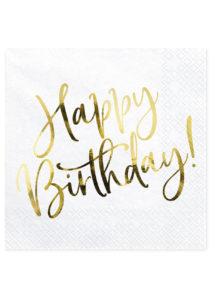 serviettes anniversaire, serviettes dorées, Vaisselle Dorée Métal, Serviettes Anniversaire