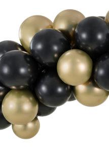 arche de ballons noirs et dorés, arches de ballons, décorations ballons, Arche de Ballons Noirs et Dorés, Kit Complet